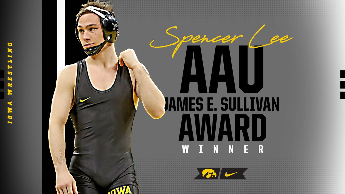 Spencer Lee has been named a co-winner of the 2020 AAU James E. Sullivan award.  He shares the award with Oregon women's basketball's Sabrina Ionescu.  #FightForIowa #Hawkeyes https://t.co/tnkkjcUxQI