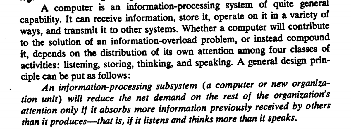 R P On Twitter Designing Organizations In An Information Rich World Paper By Herbert Simon The Paper Elegantly Makes A Point That Is Worth Considering In Both Personal And Organizational Contexts Why Do