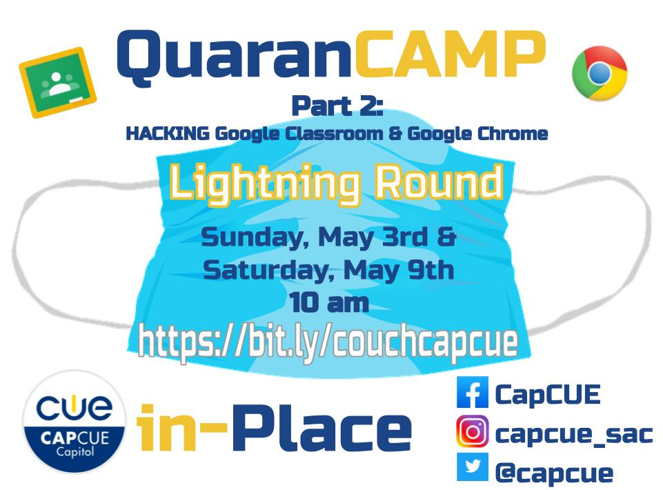 CapCUE is giving you 2 more FREE opportunities to learn and share with a deep dive into: Hacking Google Classroom & Hacking Your Workflow. Sign up at bit.ly/couchcapcue @kshevy @tanis4h @CVRscience7 @spEDTECH23 @PamOien @Mccriste @bribriggs @TOSAnotes #wearecue #capcuepln