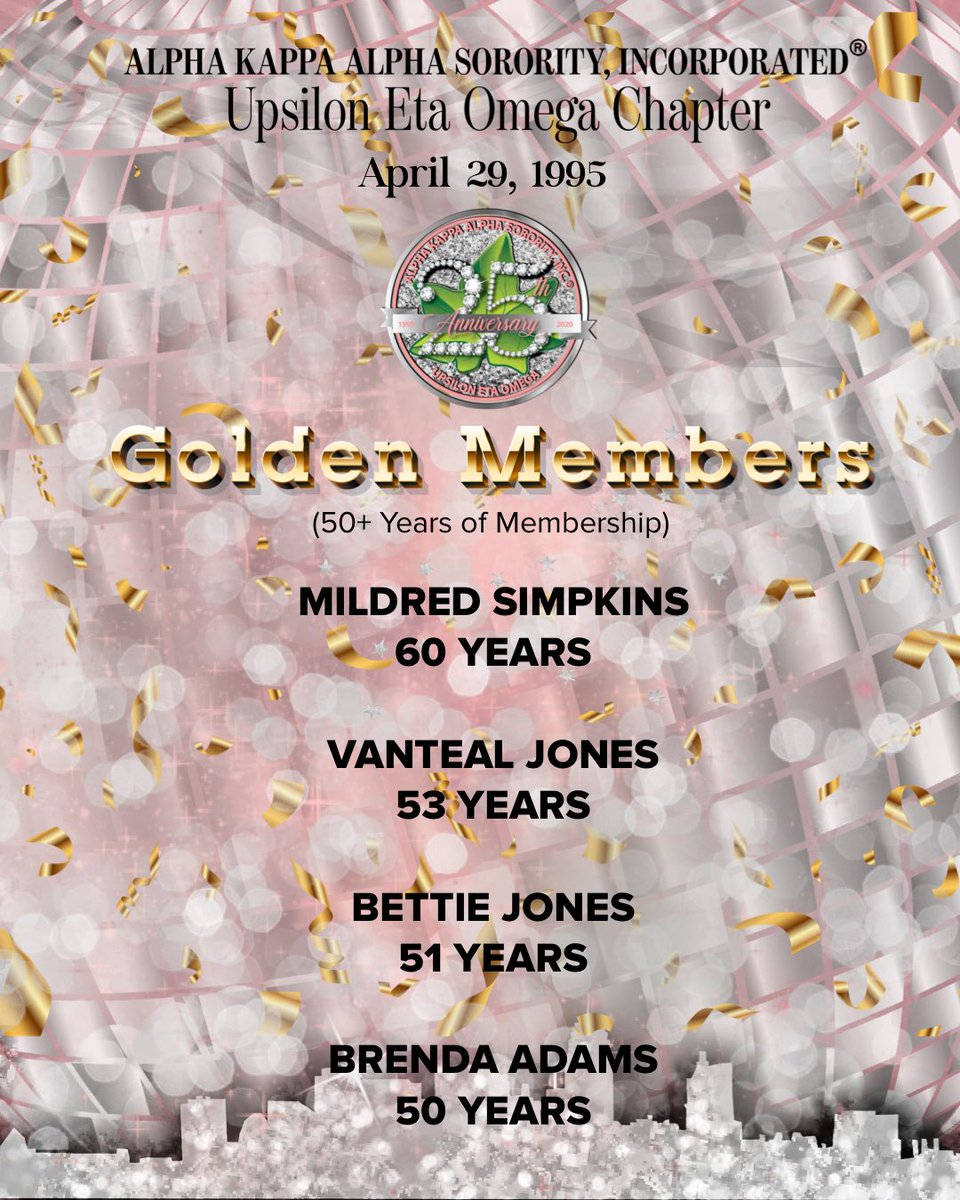 Happy Charter Day and 25th Anniversary UEO from Upsilon Eta Omega's Golden members!  ⠀⠀⠀⠀⠀⠀⠀⠀⠀ #AKA1908 #AKASouthEastern #AKAUEO #AKAUpsilonEtaOmega #AKAUEOTurns25 @akasorority1908 @AKASouthEasternpic.twitter.com/4BNVUO8pNv