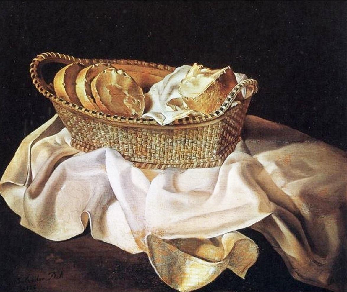 A tavola con l'arte.   #CucinareCon metodo. #Panificazione: un antico percorso, dalla farina al pane.   Ph: Salvador Dalí – Cestino di pane   #ABtechExpo https://t.co/i2bDX4dKrw
