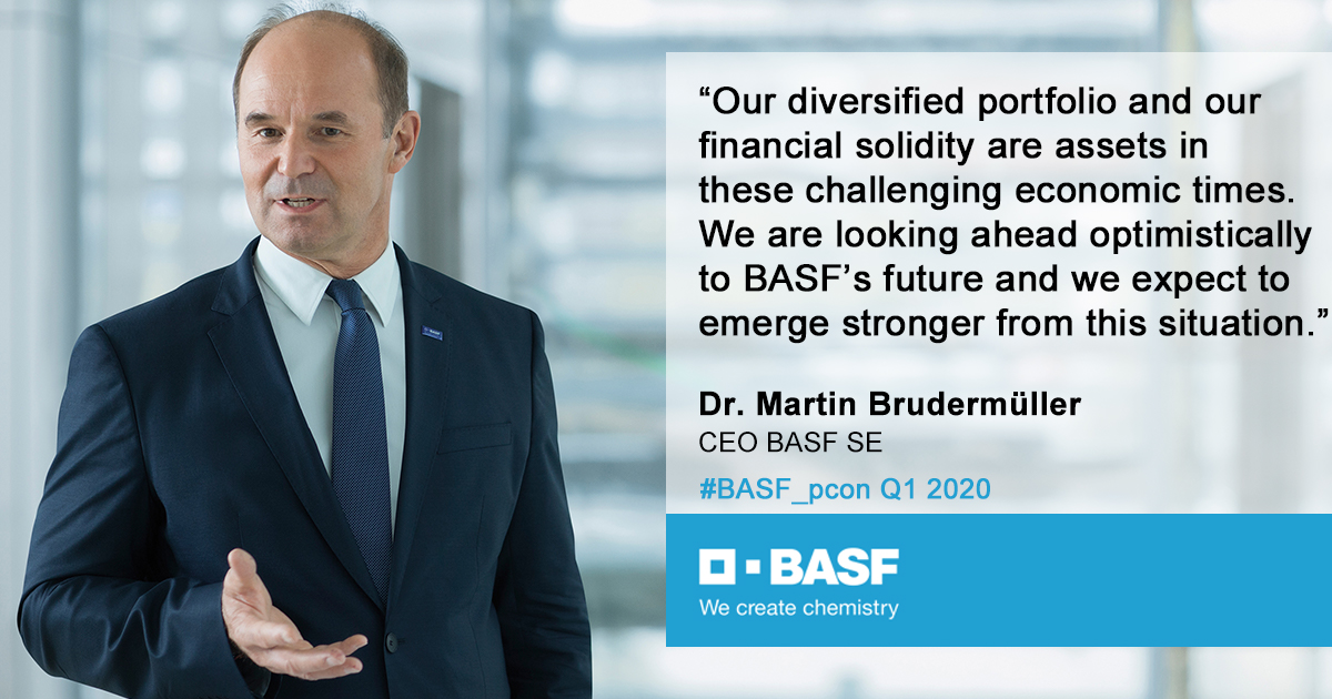 "Martin Brudermüller during #BASF_pcon Q1 2020: ""I want to assure you that the BASF team is working very hard and with confidence. We are collaborating closely with our customers in order to achieve the best-possible result for BASF."" https://t.co/pVSk8MvkfK"