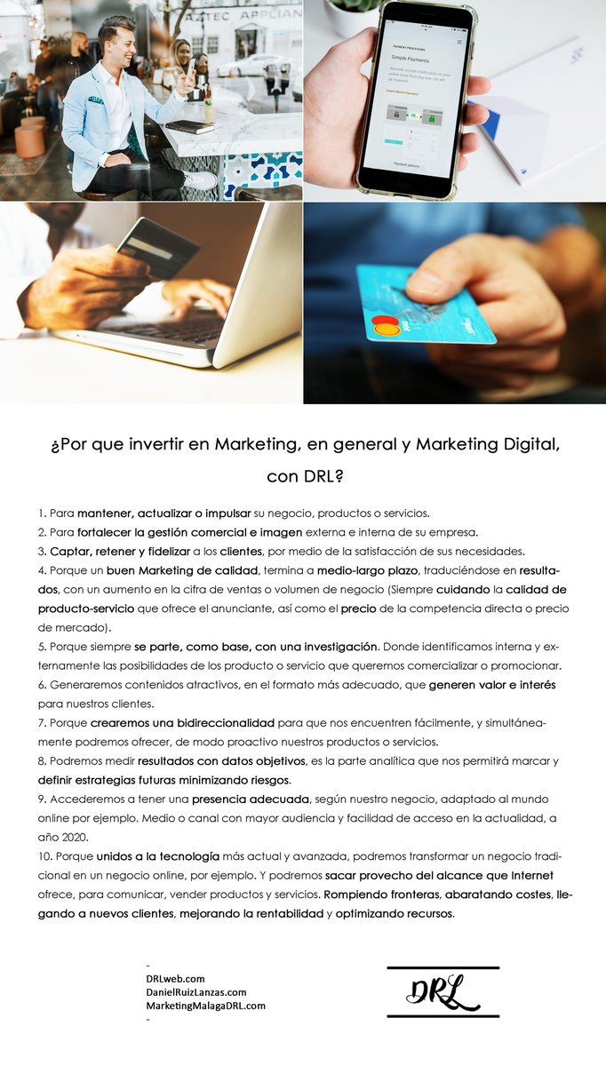 ¿Por que invertir en Marketing, en general y Marketing Digital, con DRL? - https://t.co/RJ8BC8EfNr https://t.co/bJ47DLE8i4 https://t.co/6NXtzWRfSS - #PorqueinvertirenMarketing #MarketingengeneralyMarketingDigital #DRL #DRLweb #DanielRuizLanzas #MarketingMalagaDRL https://t.co/Rt3ofesX9a