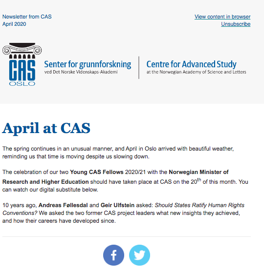 ´The fight against corona has shown the intricate relationship between different human rights´, @geirulf says in our April newsletter. 10 yrs ago, he and Andreas Føllesdal led the CAS project Should States Ratify Human Rights Conventions?  #HumanRights