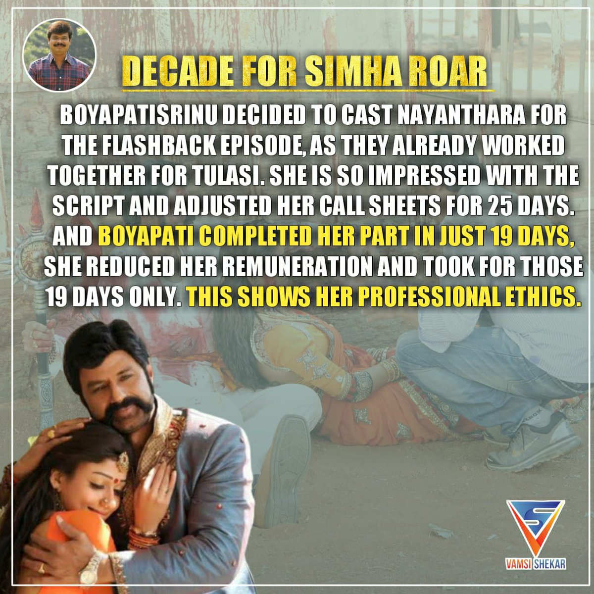 3. #Nayanthara took remuneration only for those 19 days. #Profesional  #DecadeForSimhaRoarpic.twitter.com/GeDjBTSaVA