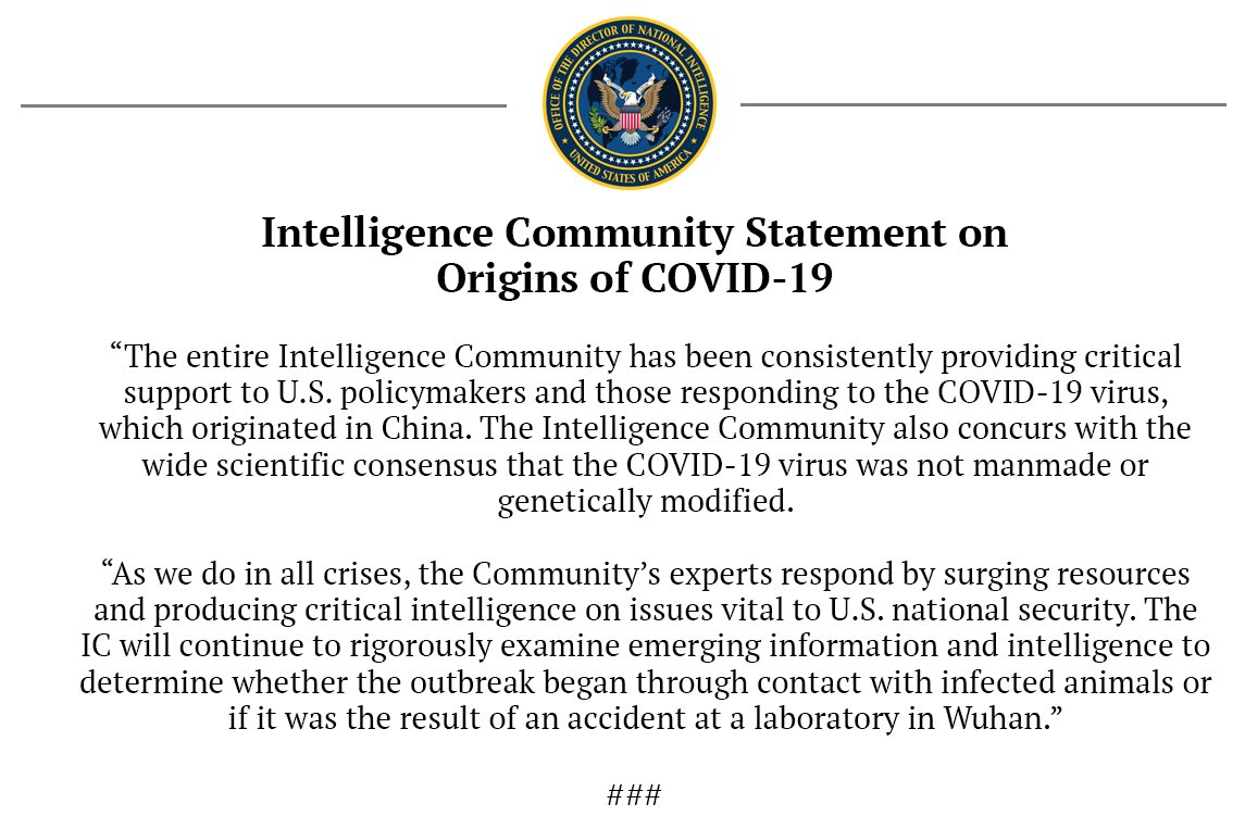 Intelligence Community Statement on Origins of COVID-19