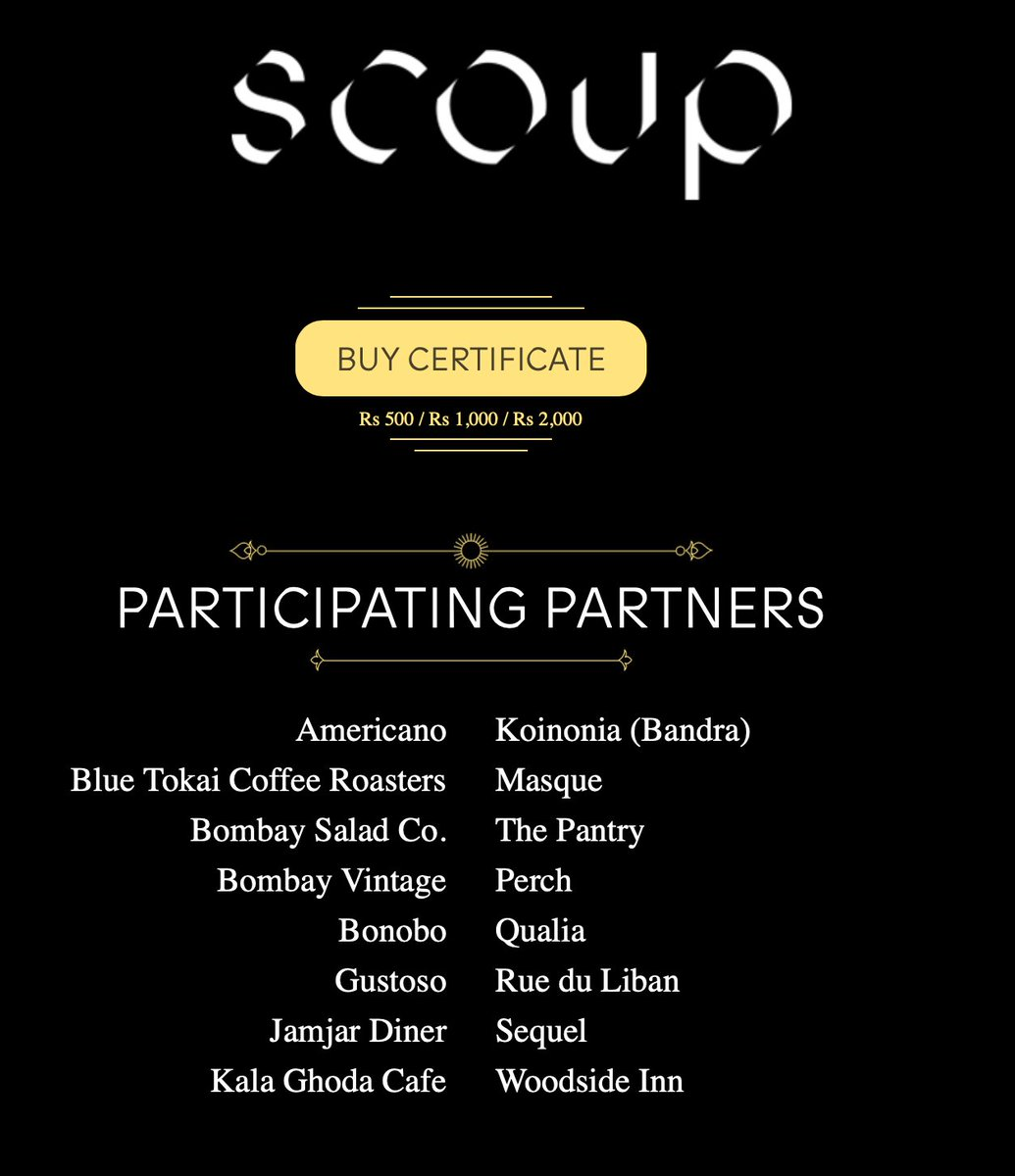 Presenting #ScoupedUp certificates! Buy now to support your favourite restaurant(s) with a little upfront cash and use when the establishment opens. Plus, theres a discount in there for you too. Buy/gift here: coupcard.in/scoup/certific…