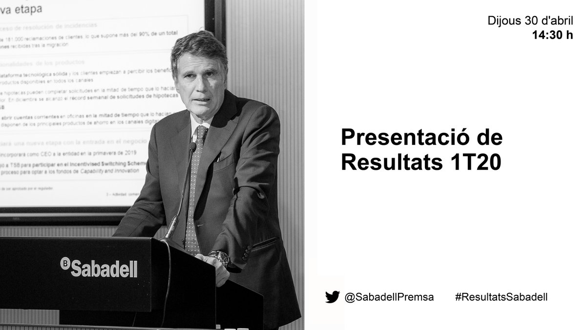 A partir de les 14:30 h @BancSabadell presenta els resultats del primer trimestre de 2020 amb Jaume Guardiola, CEO de l'entitat. #ResultadosSabadell -> @SabadellPrensa  #ResultatsSabadell -> @SabadellPremsa  #SabadellResults -> @SabadellPress  🔴https://t.co/oOQvsJ8t9J https://t.co/RtvhjMpRcr