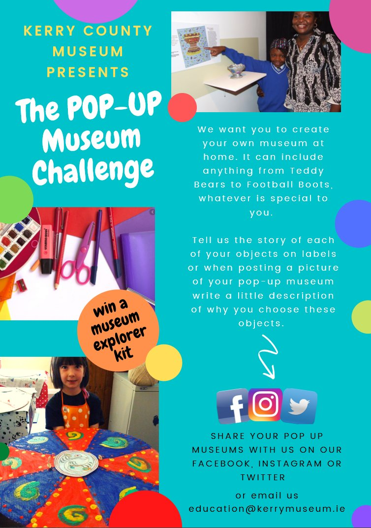 Are you ready for the @KerryCoMuseum challenge? We want you to create your own pop-up museum at home. It can include anything from Teddy Bears to Art, whatever is special to you.    #popupmuseum #mystory #kerrycountymuseum  @HeritageHubIRE  @IrishMuseums @countykerrypic.twitter.com/1nb7eWxzIA