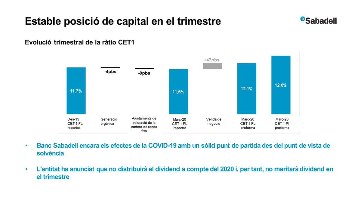 """#ResultatsSabadell   Guardiola: """"Banc Sabadell encara els efectes de la #COVID19 amb un sòlid punt de partida des del punt de vista de solvència"""" https://t.co/8IGwPk16Gz"""