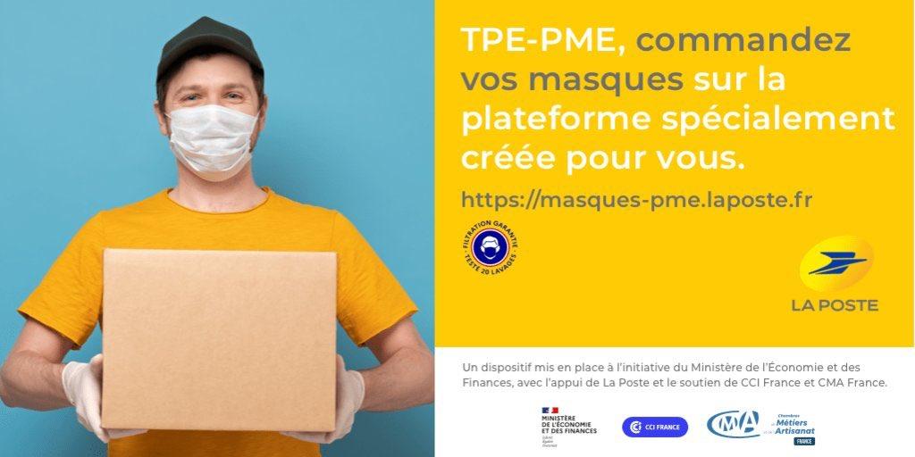 😷 Le Ministère de l'Économie et des Finances a lancé le 30 avril avec La Poste, CCI France et CMA France, une plateforme de commercialisation et de distribution de 10 millions de masques « grand public ». Les commandes seront possibles sur le site https://t.co/LKvFBIK5Se https://t.co/TKotpuUKno
