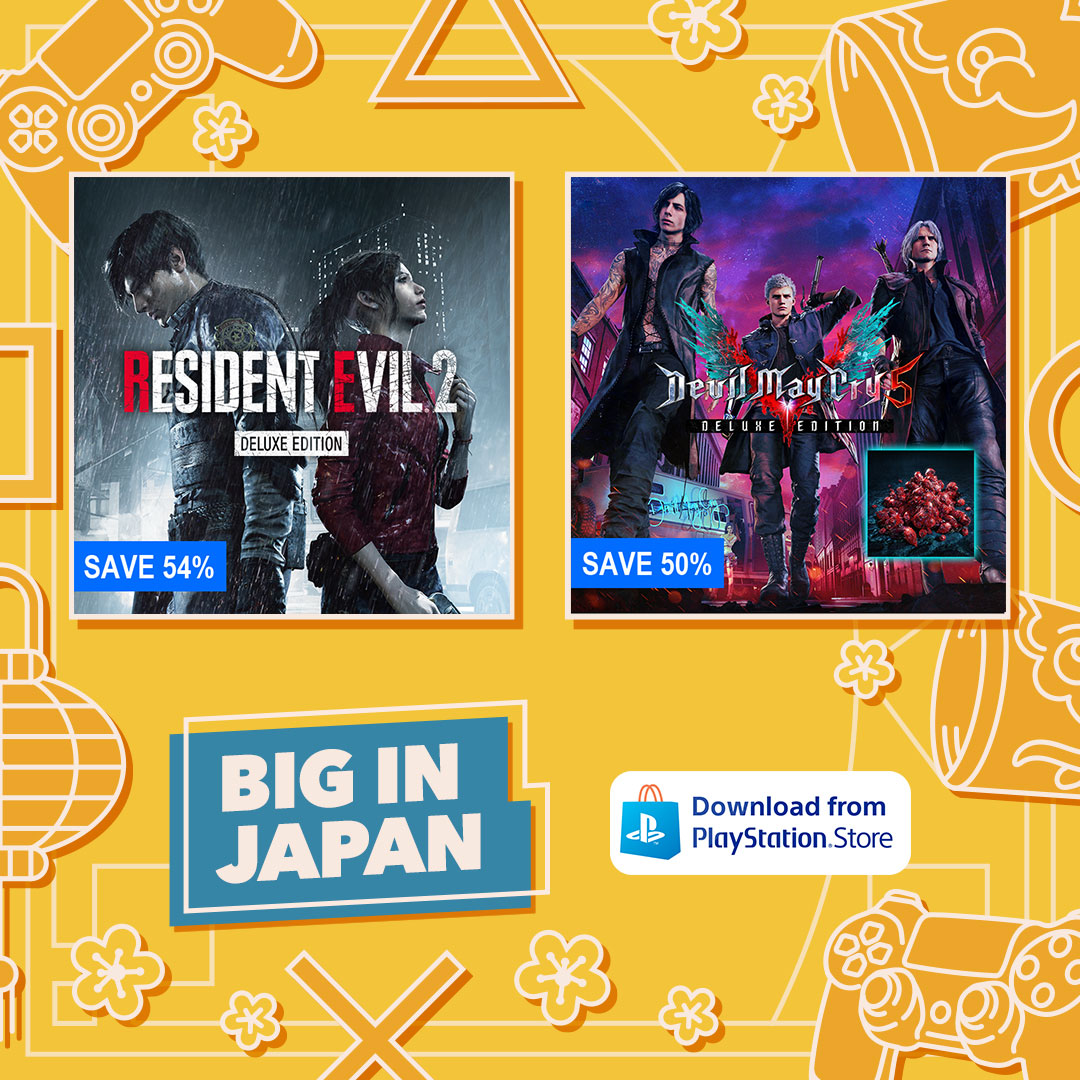 Save big on various Capcom games with the PlayStation Store's Big in Japan sale, including Resident Evil 2, Devil May Cry 5, Monster Hunter, Mega Man, Street Fighter and more!  🌿 https://t.co/o4t2QbWRid 🍕 https://t.co/A8Pui8rtkA https://t.co/0m4CH2pZFF