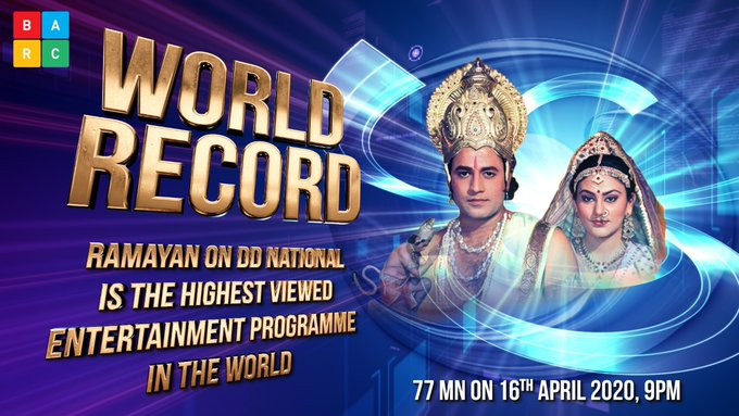 Ramayan on DD National is the highest viewed entertainment programme in the world.