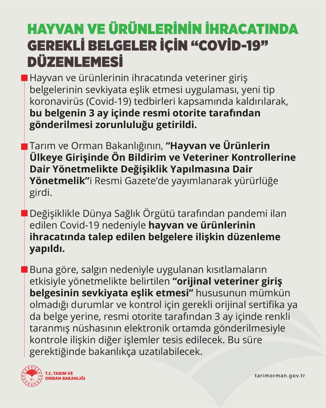 """Hayvan ve ürünlerinin ihracatında gerekli belgeler için """"KOVİD-19"""" düzenlemesi"""