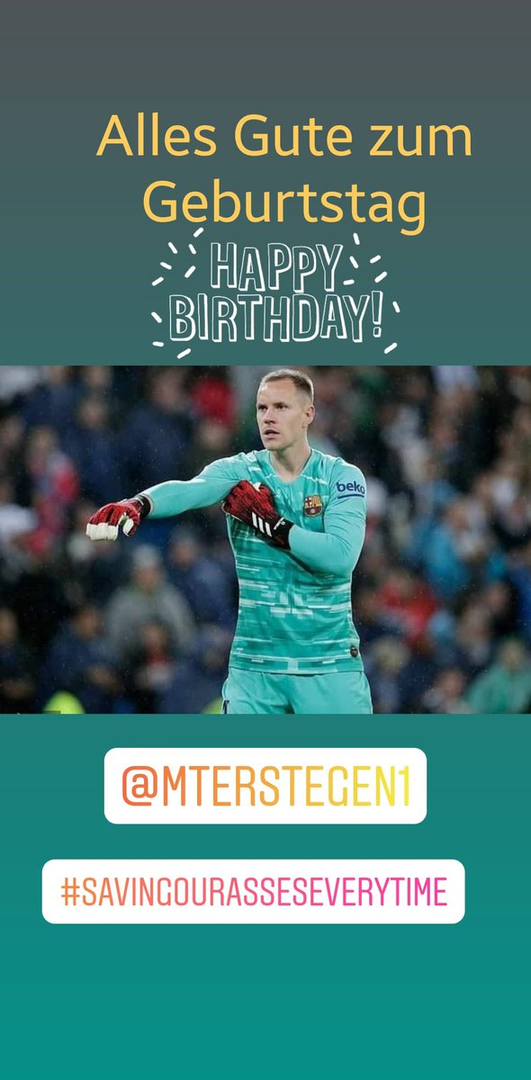 Once again Happy Birthday MaTS @mterstegen1. We are so glad that you are playing for @FCBarcelona! Thank you for all the sweet memories and can't wait to see you again defending for us. #FelizCumpleanos #GreatGoalie #MarcTerStegen #FCBarcelona #culerpic.twitter.com/QRhpVCnwKK