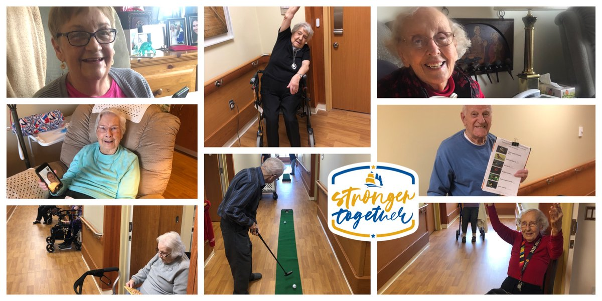 Residents & staff at #GeorgianVillage in @penetanguishene continue to adapt & find new ways to #stayactive & #staybusy while practicing #physicaldistancing during #COVID19. Check out a few activities they've been doing since March. #strongertogether #throwbackthursday #TBTpic.twitter.com/nDRtmxhUlZ