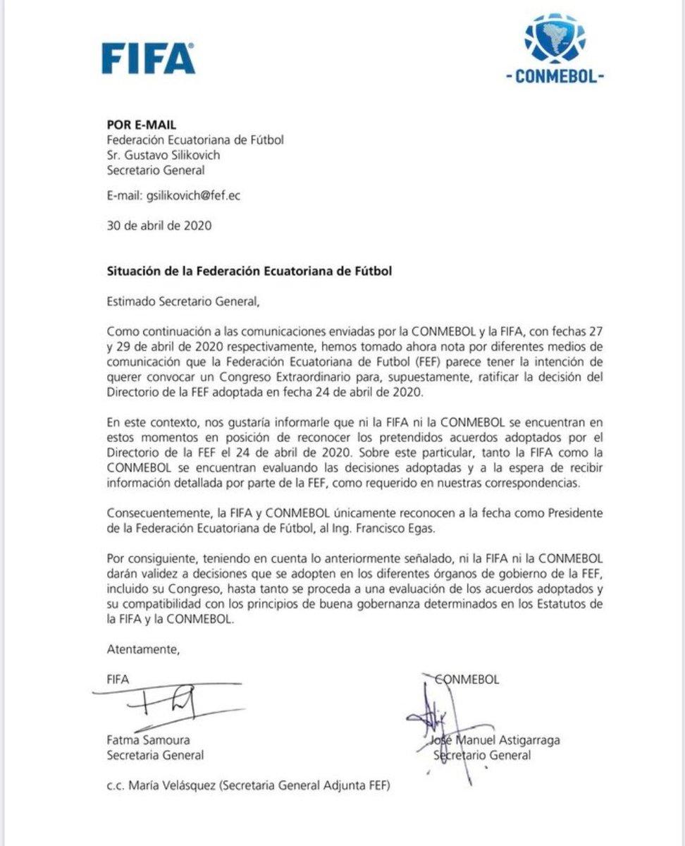 Pronunciamiento de @FIFAcom y @CONMEBOL respecto a la situación de la @FEFecuador. https://t.co/Tp4AQ8X7G7