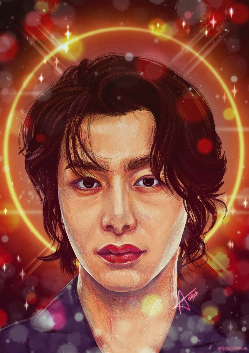 """""""I might not be aware but I feel the halo Our encounter was a fateful existence No need to hide it no no We'll recognize each other so you follow me""""  Wow. This was so tough but I powered through because our Hyungwon is worth it!   #HYUNGWON  @OfficialMonstaX #monbebe #fanart"""