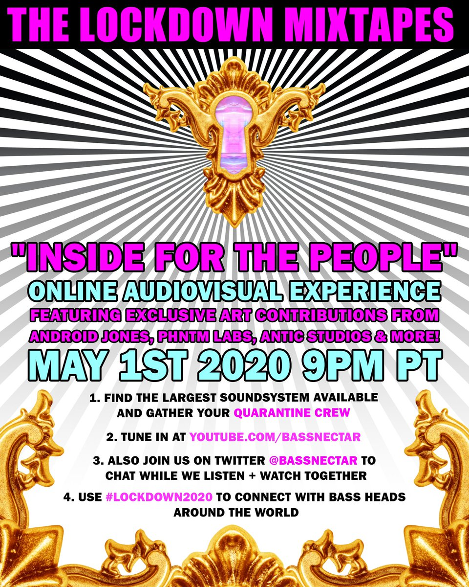 FRIDAY NIGHT: Let's blast the music together!  Join us May 1st at 9pm PT for a unique audiovisual experience to enjoy this 1st chapter of The Lockdown Mixtapes: Inside For The People! - you can tune in here: https://t.co/bVR53mNqBK  #LOCKDOWN2020 https://t.co/lN73V1vUwH