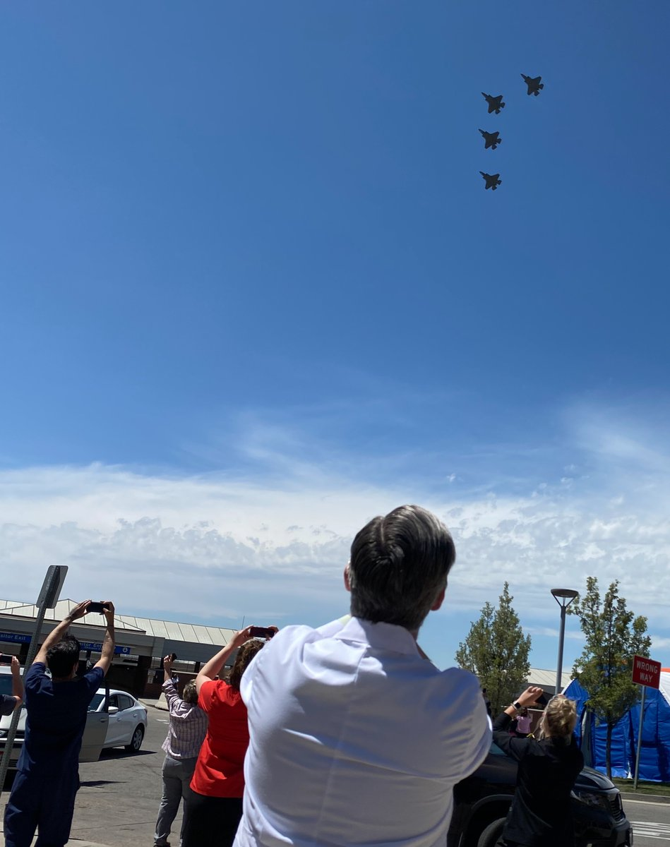 Saluting health care professionals fighting #COVID19, the @F35demoteam and @388fw performed a #UtahStrong flyover today. Starting from @HAFB it passed over @UofUHealth with employees watching with proper PPE and social distancing. https://t.co/UABidVxETw