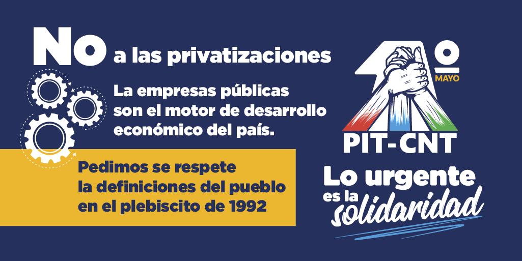 """Uživatel PIT CNT na Twitteru: """"1° de Mayo · Empresas públicas ⚙️ La empresas públicas son el motor de desarrollo económico del país. Pedimos se respete la definiciones del pueblo en el"""