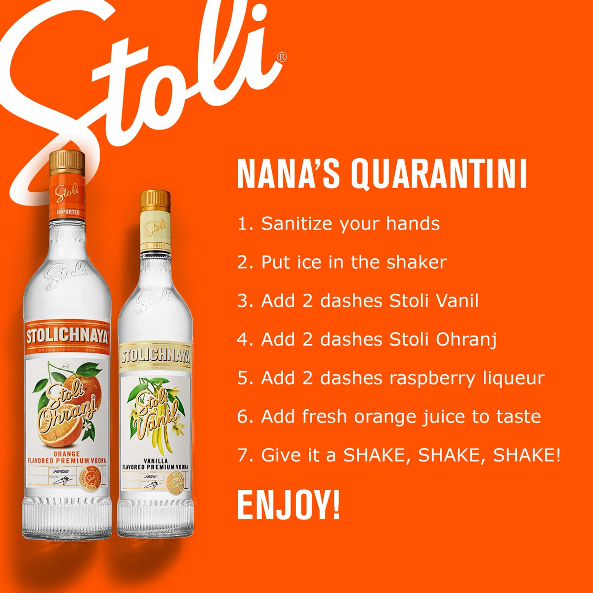 Make your own Nana's Quarantini with Stoli Vanil & Stoli Ohranj delivered to your doorstep with @MinibarDelivery https://t.co/9dekCcMsTE