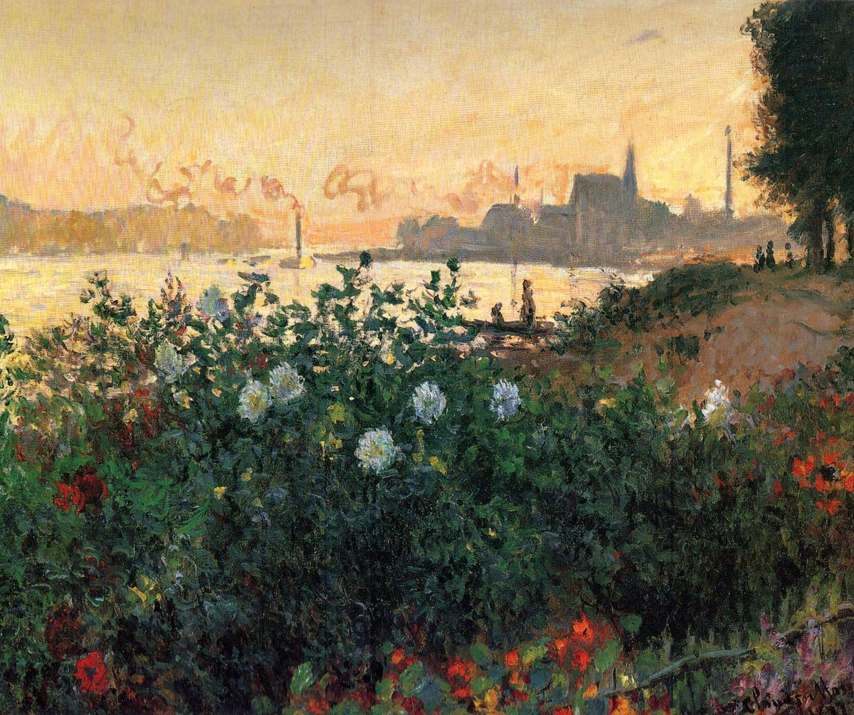 """Claude Monet on Twitter: """"Argenteuil, Flowers by the Riverbank, 1877  #claudemonet #impressionism… """""""
