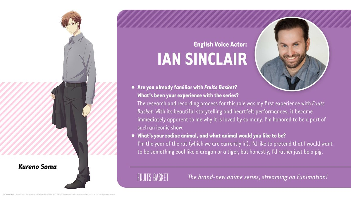Check it out! @iantweeting is joining the cast as Kureno Soma in the English version of Fruits Basket! 🍎🍉🥝 #fruitsbasket