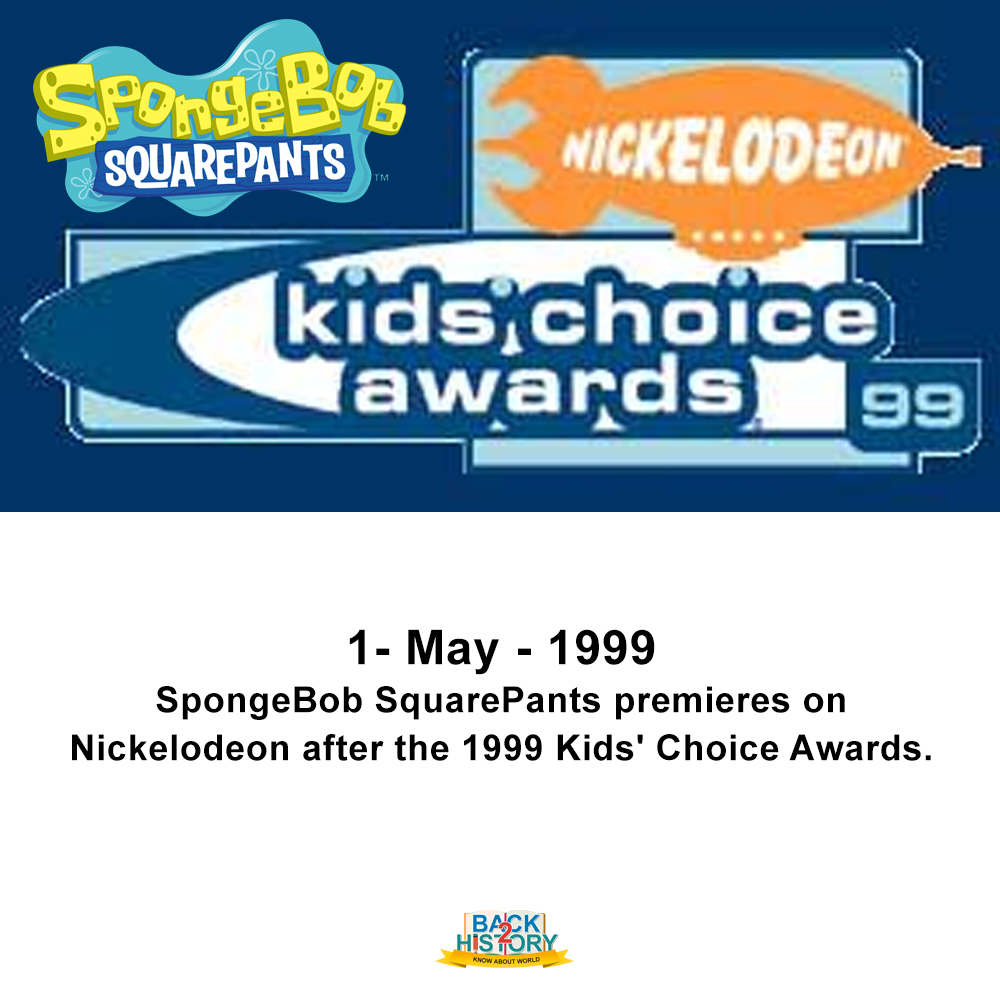 1 - may - 1999 – SpongeBob SquarePants premieres on Nickelodeon after the 1999 Kids' Choice Awards.  #History #Historymemes #WorldHistory #WorldHistorymemes #Sonic #Nickelodeon #SpongebobSquarePants #KidsChoiceAwards #OnthisDay #OnthisDayinHistory #Back_2_history #Back2History pic.twitter.com/M9OhS60ro8