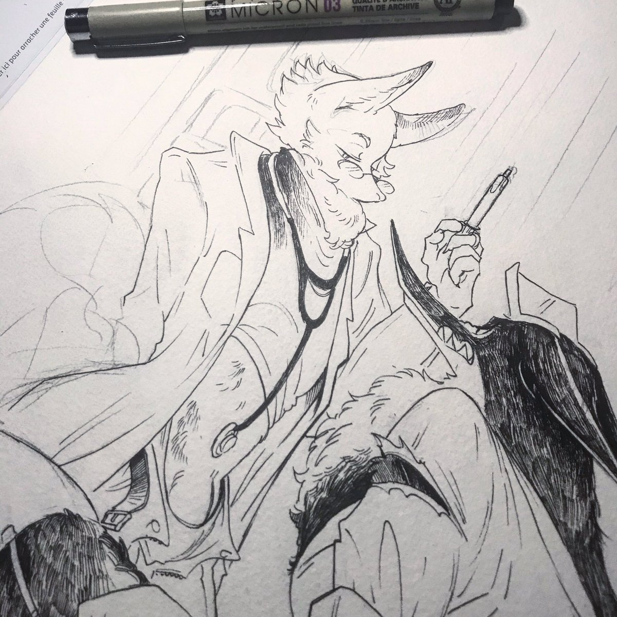 [WIP] Traditional ink  Tools: @sakuraofamerica Micron + @Hahnemuehle paper  . #ink #dailydrawing #wip #wolf #fox #furry #hellostranger <br>http://pic.twitter.com/cZ35LcUWc9