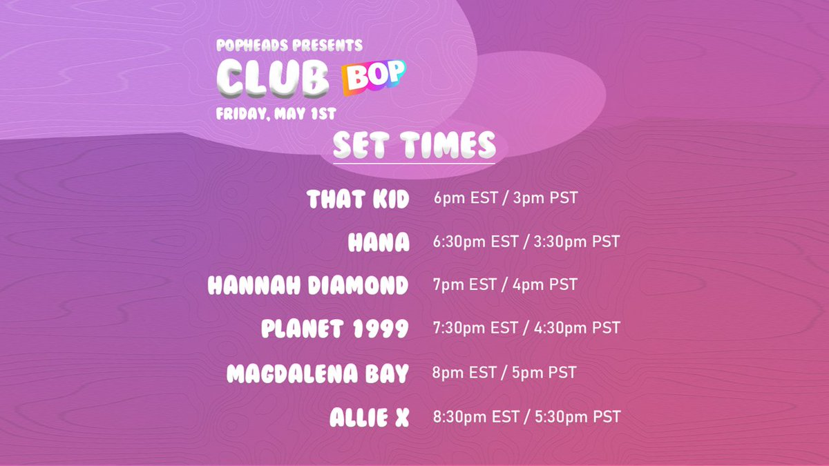 🚨SET TIMES FOR CLUB BOP🚨 Were now less than 24 hours away from @itisthatkid kicking off this event! We will be sharing the Zoom code 15 minutes before it starts (5:45pm EST / 2:45pm PST). Donations to COVID-19 relief would be greatly appreciated: tiltify.com/@popheads/ph-c…