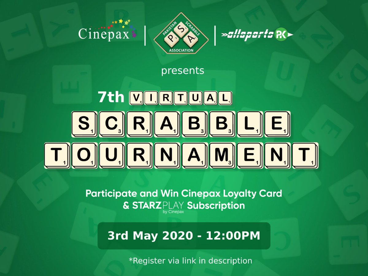 Great news for all scrabble lovers!  @cinepax_cinema & @allsportspkcom in collaboration with @pakscrabble presents:  Virtual Scrabble Tournaments  For registering. Click on https://t.co/FFDxSZHhXl  Next Virtual tournament will be held at 12pm, 3rd May 2020. https://t.co/YndQm3vvMk