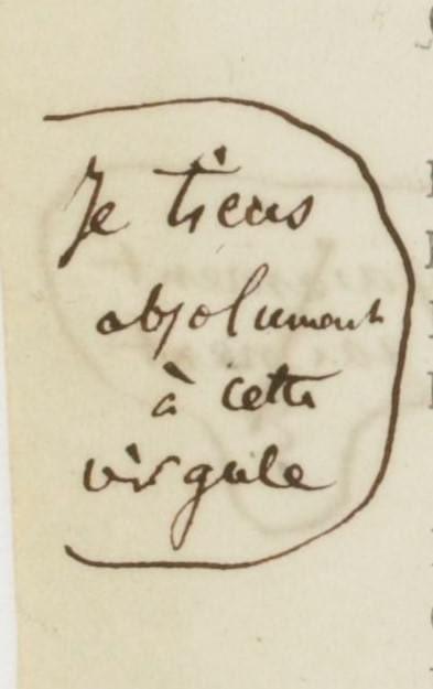 «Je tiens absolument à cette virgule»  Annotation de Baudelaire, épreuves des Fleurs du mal. https://t.co/QshBJ54sdM