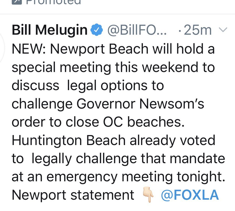 """Breaking Now.  From FOXLA.  Huntington Beach City Council votes in """"emergency session"""" to challenge Governor's order to close Orange County beaches.  Newport Council planning similar action this weekend.  https://t.co/eH5XaiBq7S https://t.co/XKq5uXSdLt"""