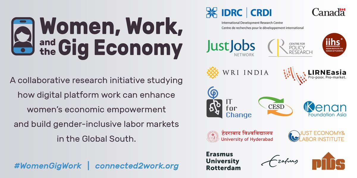 Now announcing the new #WomenGigWork research consortium! Stay tuned over the next few weeks for project intros from each research partner, and learn more about the initiative at our new online portal Connected2Work: https://t.co/COvQyOmnXZ @IDRC_CRDI @GillianDowie @sabinadewan https://t.co/Dwcwem1K2l