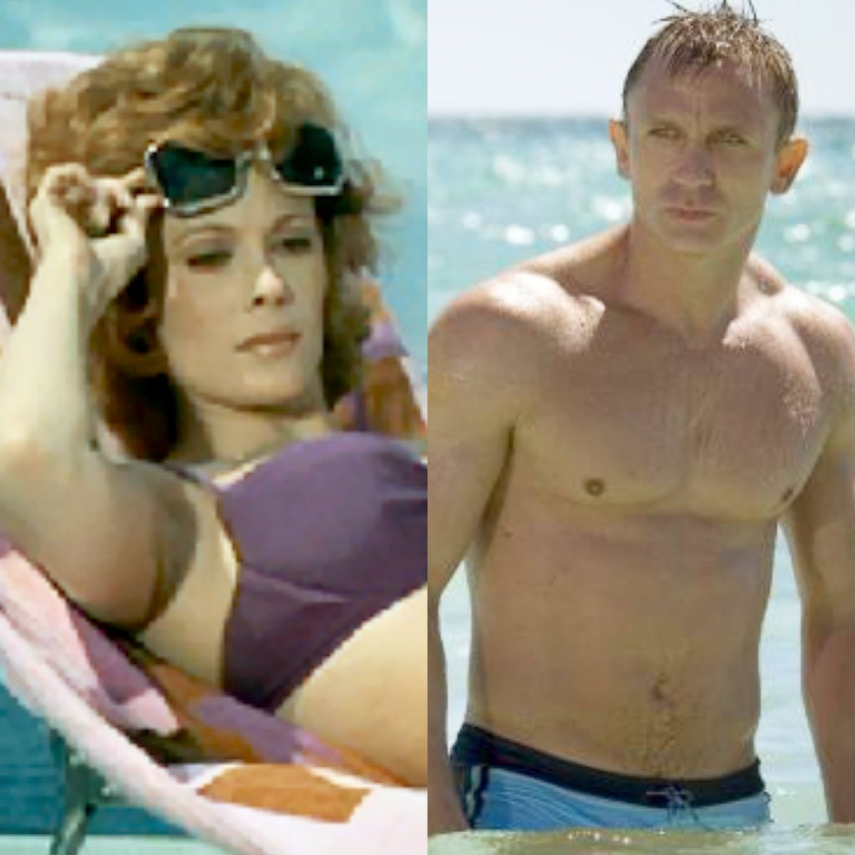 We associate Bond films with what #LauraMulvey called the #malegaze but my re-viewings have revealed that, well before Daniel Craig walked out of the ocean in #CasinoRoyale, there were many instances across the series of female/homosexual male gaze. #malegazetheory https://t.co/dYMMGd4cGS