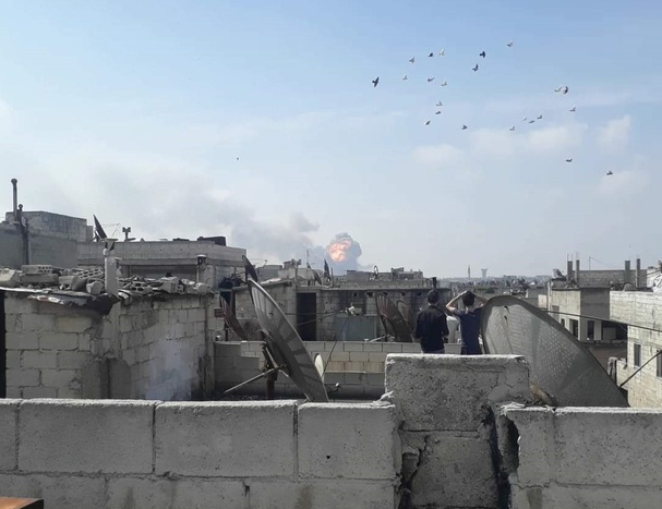 Images of warehouses explosion near Homs city