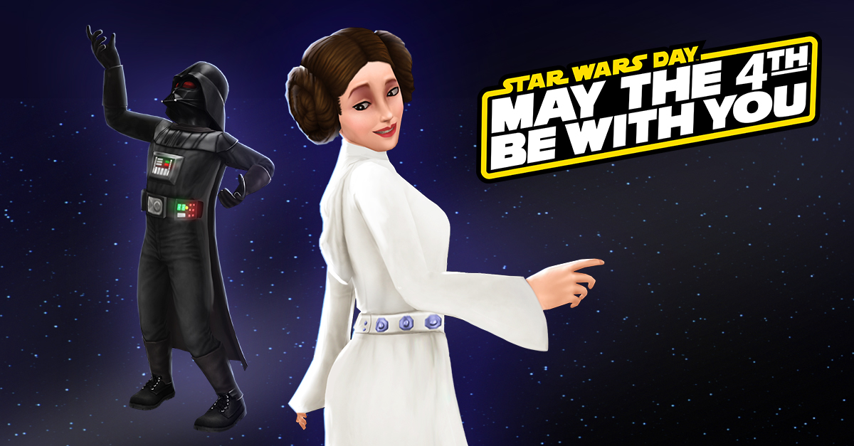 Enjoy these iconic Princess Leia, Organa and Darth Vader outfits for your Sims to reenact their classic confrontation! Head to the Online Store now to redeem your free pack and get ready for Star Wars Day on May the 4th!