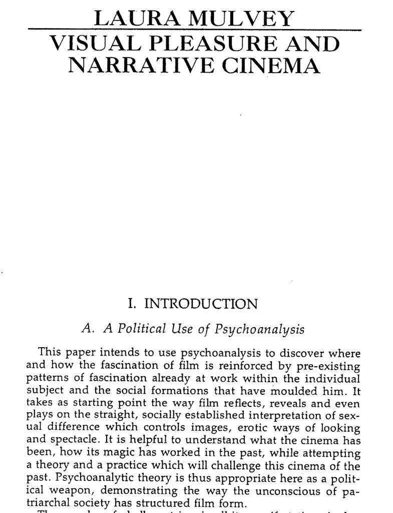 """I re-read #LauraMulvey's seminal essay in bed this morning and Oh. My. Word. I'd forgotten how powerful that opening is:  """"Psychoanalytic theory is appropriate... as a political weapon.""""  And it just gets angrier.  ❤️ it  Essential #filmtheory 🎥🎞️🎬♀️🏳️🌈  #malegaze #feminist https://t.co/MRBtaVUYxe"""