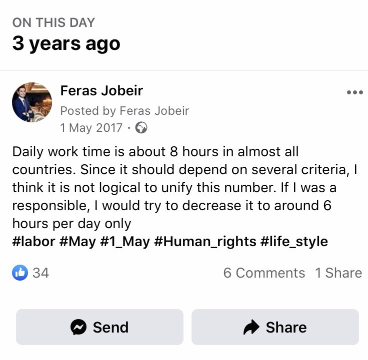 Thanks to Facebook reminder :)) since that year, I did not work more than 6 hours per day for any company #LaborDay #LaborDay2020 #LabourDay #oneMay #WorkersDay https://t.co/wkcLm4lfZX