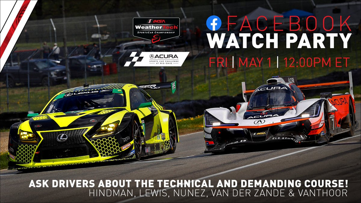 Good morning IMSA fans! Who is ready to watch the 2019 @Acura Sports Car Challenge at @Mid_Ohio Highlights on our Facebook Watch Party today at 12 pm ET? 🙋 IMSA drivers will be ready for your questions in the chat! #IMSA / #IMSAatMO