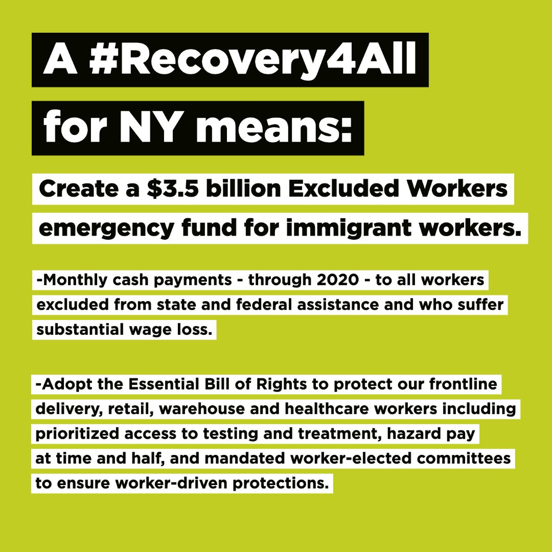 This May Day, we call for a #Recovery4All!   1⃣ Create a $3.5B Excluded Workers' Fund to support those left out of the federal stimulus. 2⃣ #CancelRent to keep tenants in their homes. 3⃣ #FreeThemAll: release incarcerated and detained community members at risk due to COVID-19. https://t.co/e5kp9fu1Ra