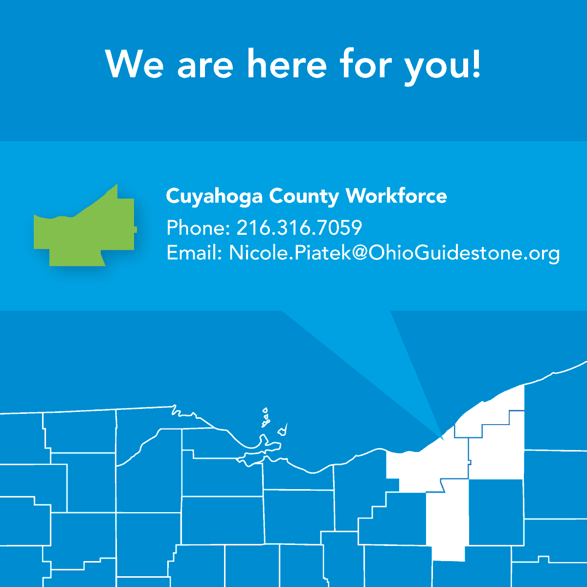 OhioGuidestone's Workforce 360° Team is still here and serving you! In Cuyahoga County? We are, too, and we're helping current, previous and potential clients navigate this difficult time. Don't hesitate to reach out if you need assistance.