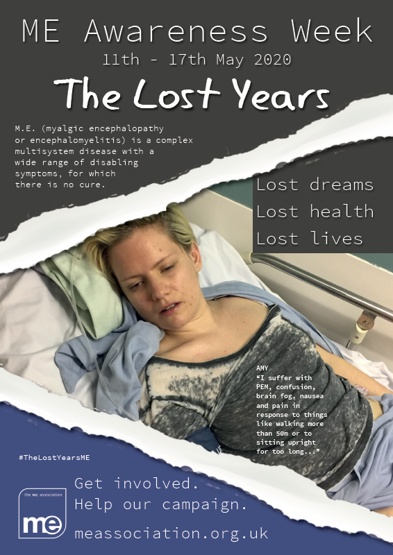 The Lost Years - one of the campaigns being promoted by the @MEAssociation for this year's #MEAwarenessWeek. More, much more, over the next few days. #TheLostYears #mecfs #cfsme #MyalgicE #pwme https://t.co/w3N8QCnASx