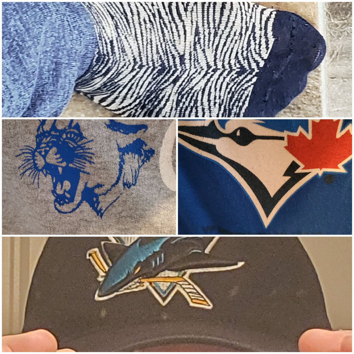 Not ONLY am I rocking these Zebra print socks, but I'm also representing the @MilestoneCougs, the @BlueJays, and you guessed it...the @SanJoseSharks! So many animals this #smellsliketeamspirit Friday! pic.twitter.com/ggl5VXQ5XG