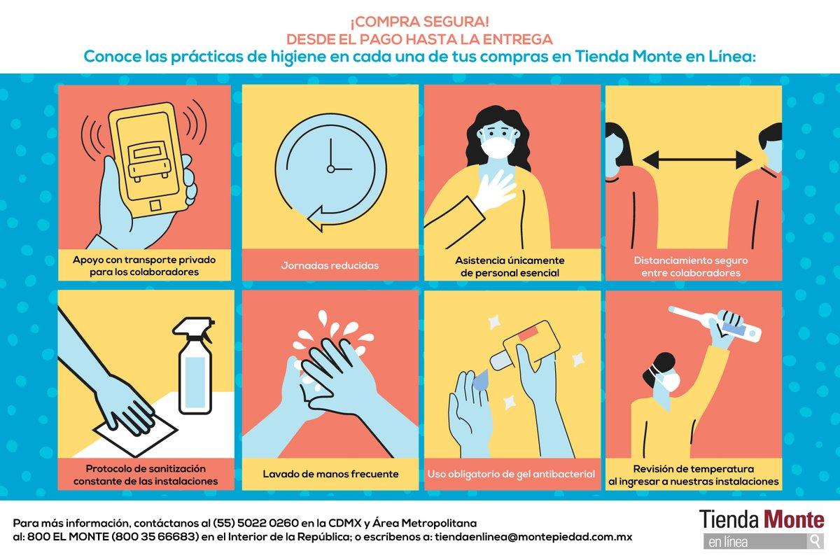 Tus compras en Tienda Monte en Línea, ¡siempre seguras! Conoce las medidas sanitarias que llevamos a cabo antes de que lleguen a la puerta de tu hogar.  #MonteTeCuida 🙌 https://t.co/Rb67XXny3b