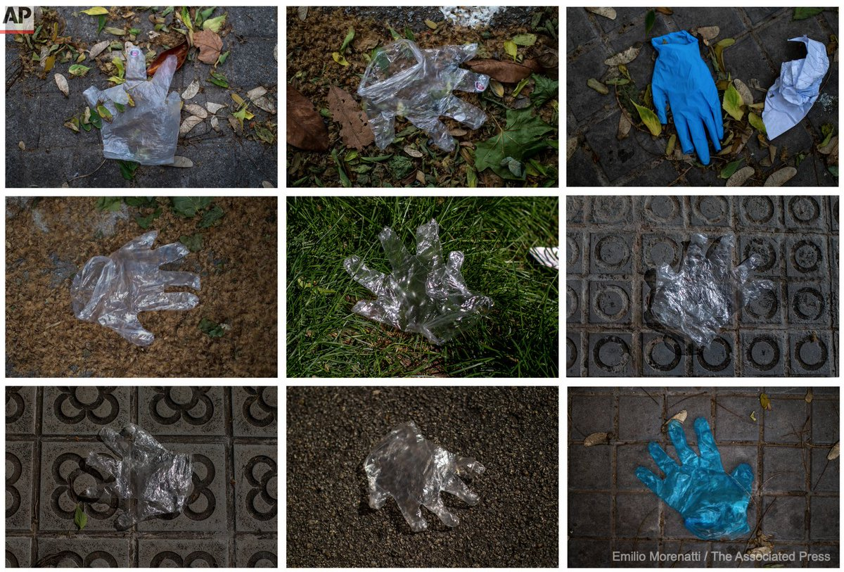 Discarded plastic gloves lay on the ground in a street in downtown Barcelona, Spain, Friday, May 1, 2020 as the lockdown to combat the spread of coronavirus continues. https://t.co/kYvnOzF8NB