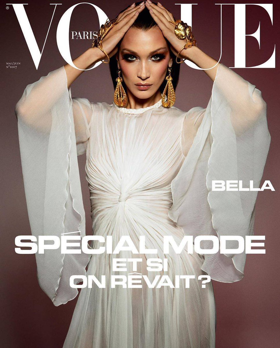 Bella and Gigi Hadid on the May/June 2020 covers of Vogue Paris. Photographed by Inez and Vinoodh.