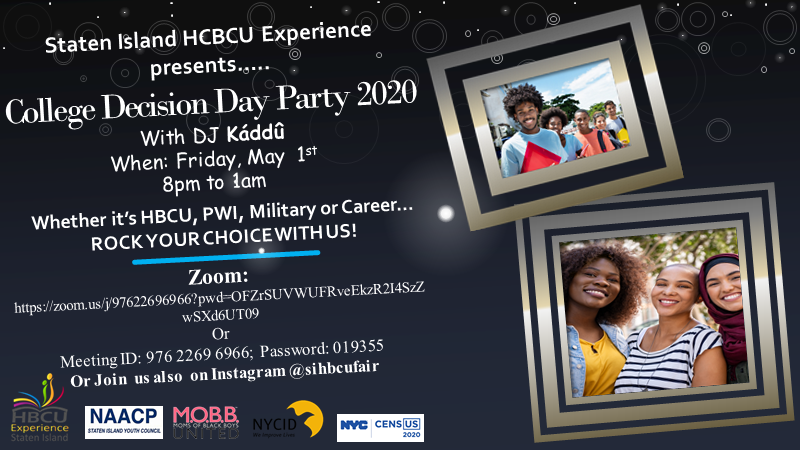 🎉Friday is party day🎉! Join the Staten Island HBCU Experience in celebrating your choice of higher education on Zoom tonight at 8:00 PM!  Live DJ🎛🎤 and a whole lot of fun🎆! Rock your choice!  #WeImproveLives #RockYourChoice @HbcuIsland  @mobbunited https://t.co/0A3N4wVeJD