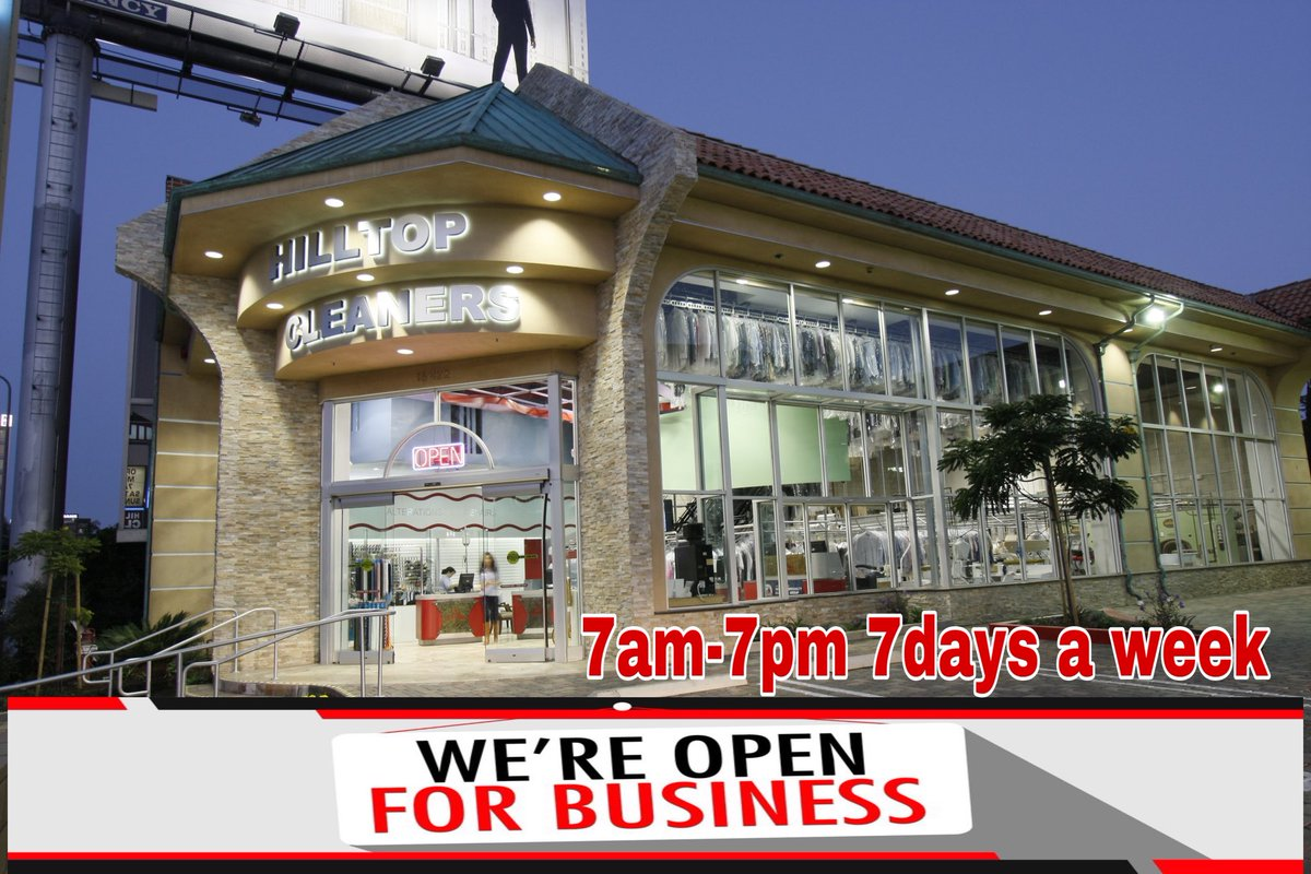 We are still open for business, 7am-7pm, 7 Days a week. We also have free delivery!! Call us today 818-505-4145 #onesocal #hilltopcleaners #encino #drycleaners #laundry #fluffandfold #tailoring #shermanoaks #tarzanapic.twitter.com/sGUnDs5IBG